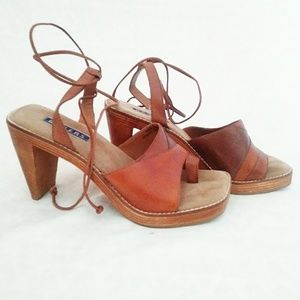 Bakers wood and leather lace up mules
